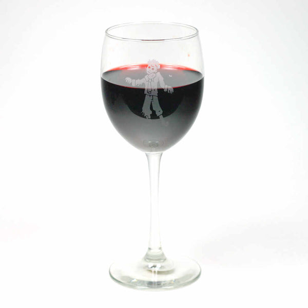 Zombie wine glass etched by Bread and Badger