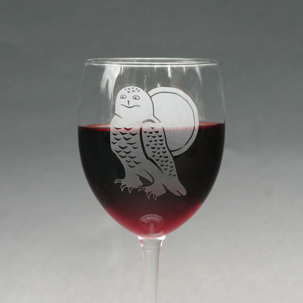 Snowy Owl wine glass by Bread and Badger
