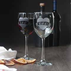 DAD Tattoo Heart Wine Glass Set of 2