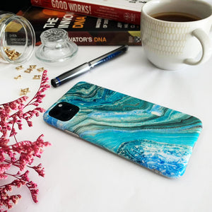 Sea Marble Silicon iPhone Case with AirPods Pro