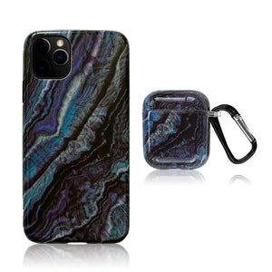 Blue and Black 3D Hybrid iPhone Case with AirPods