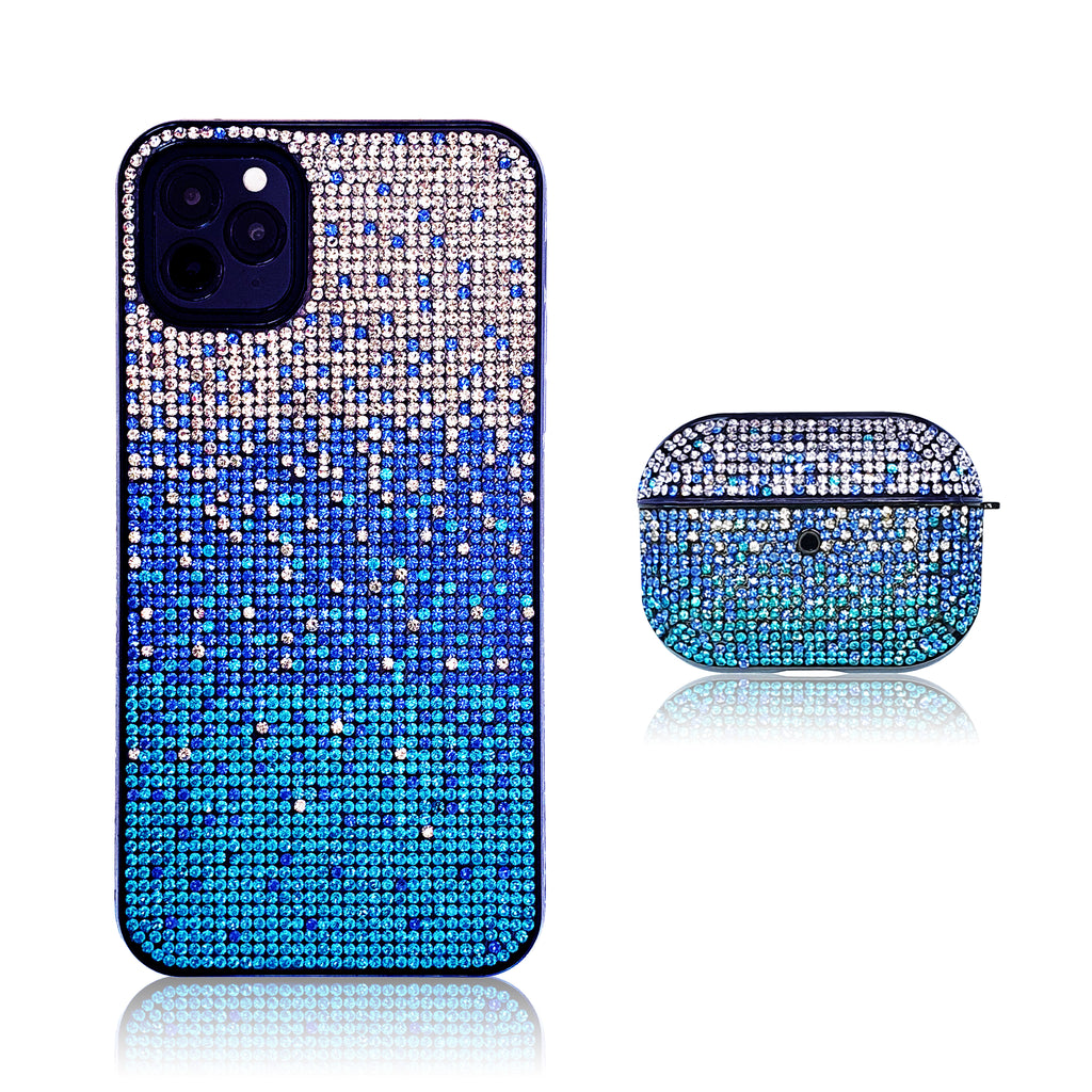 Crystal Gradient Blue Silicon iPhone Case with AirPods Pro