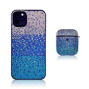 Crystal Gradient Blue Silicon iPhone Case with AirPods