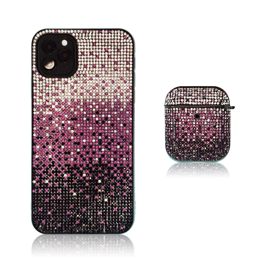 Crystal Gradient Purple Silicon iPhone Case with AirPods
