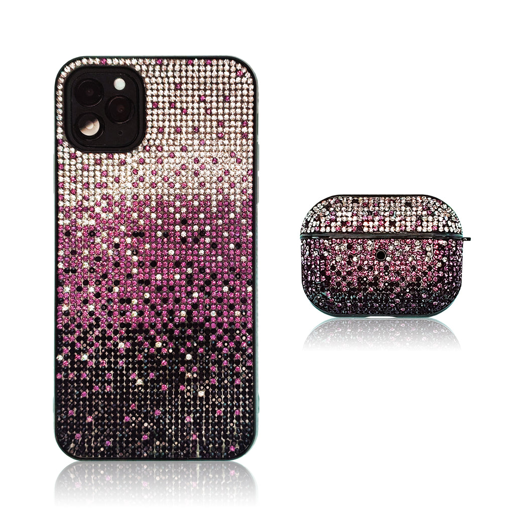 Crystal Gradient Purple Silicon iPhone Case with AirPods Pro