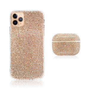 Crystal Rose Gold Silicon iPhone Case with AirPods Pro