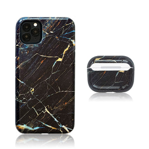Dark Marble 3D Hybrid iPhone Case with AirPods Pro