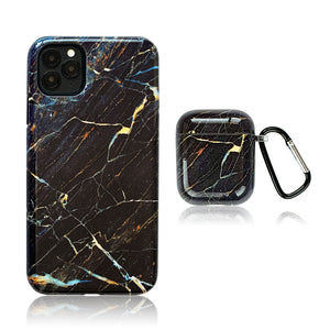 Dark Marble 3D Hybrid iPhone Case with AirPods