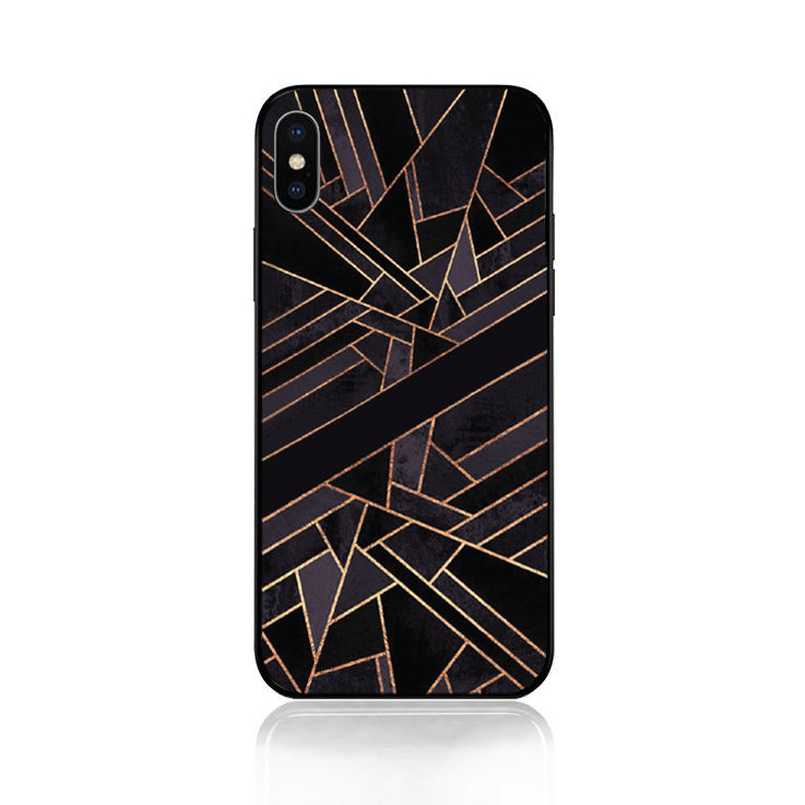 Geometric Gold and Mauve Tempered Glass Case