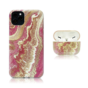 Pink Marble Hybrid Case Combo
