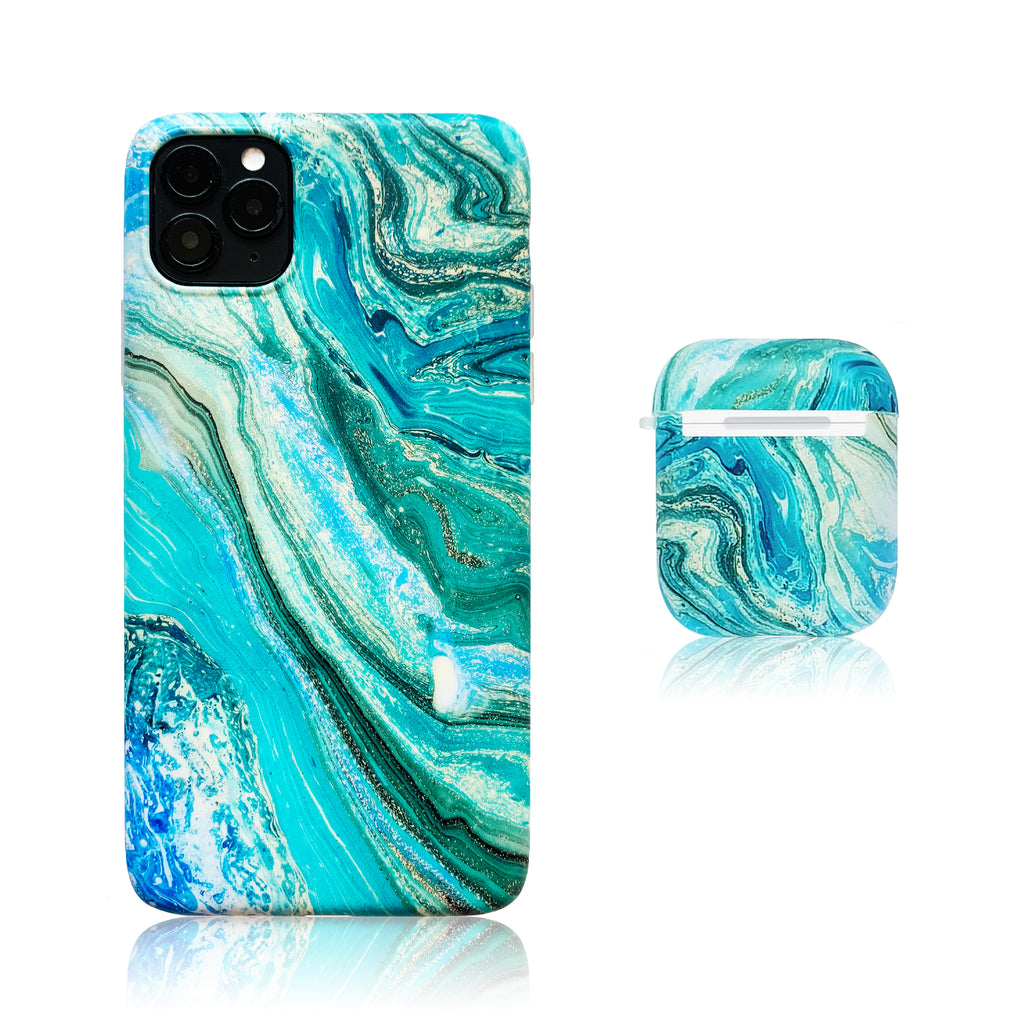 Sea Marble Silicon iPhone Case with AirPods