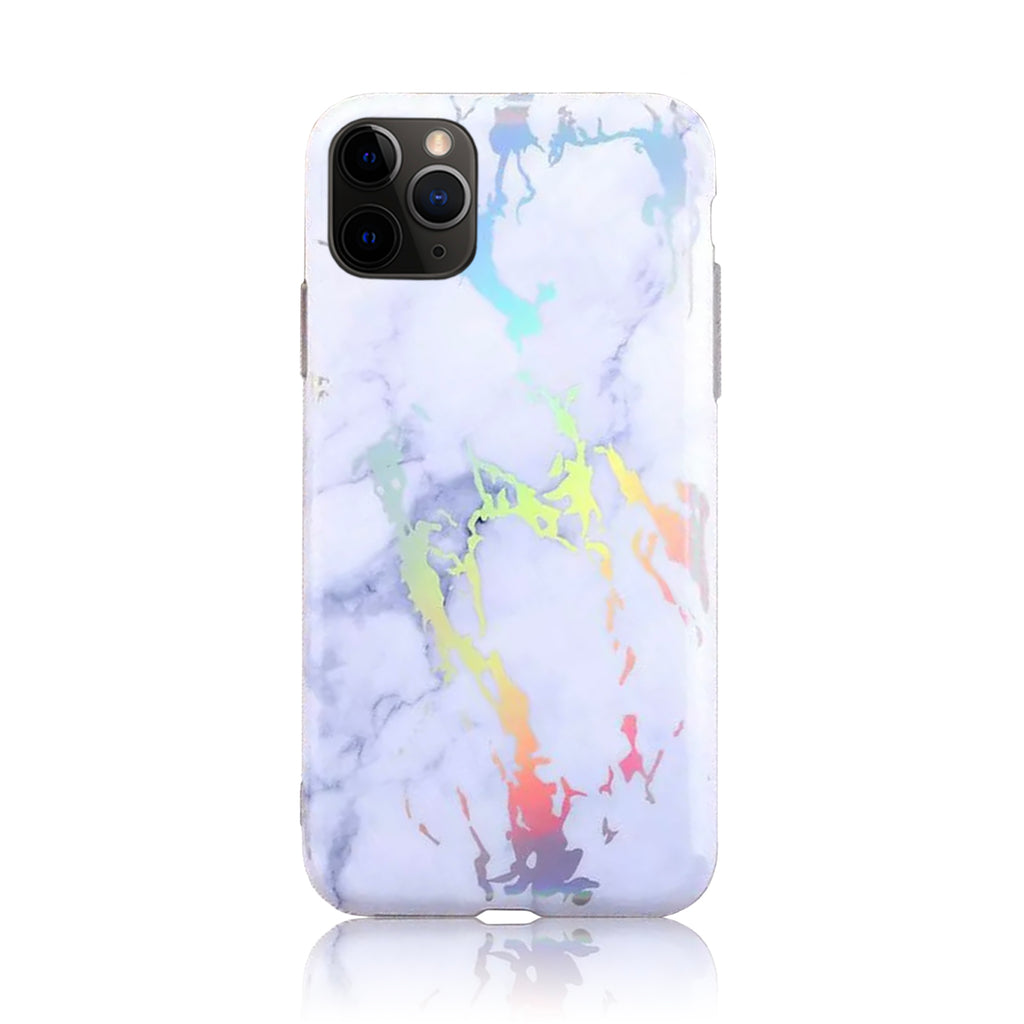 White Silver Holographic Silicon Case