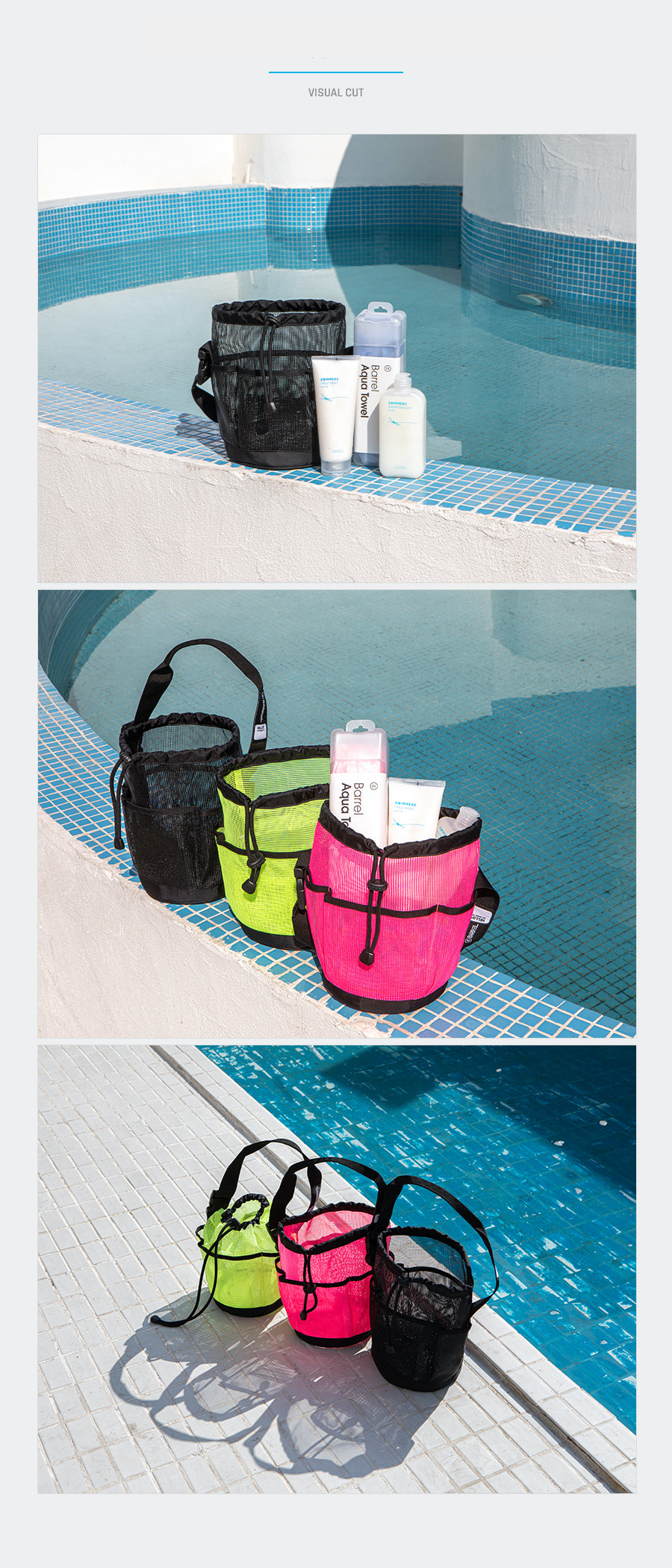Barrel Mesh Shower Tote Bag-PINK_image