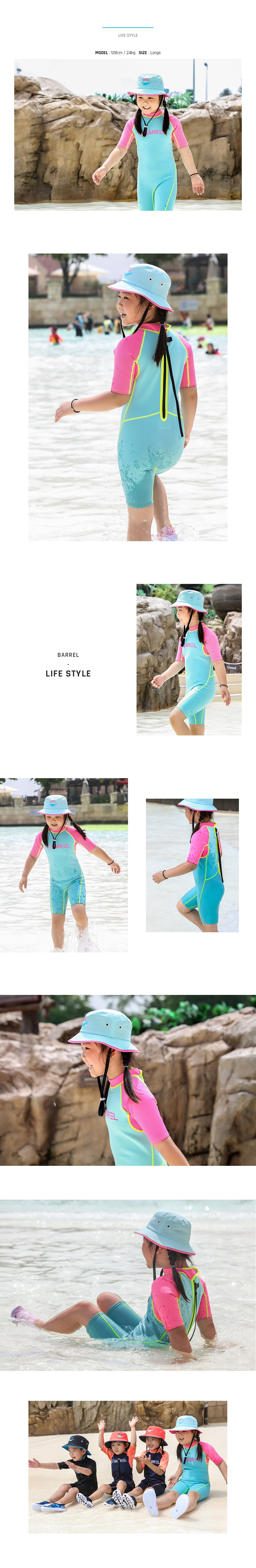 Barrel Kids 1mm Neoprene Spring Suit-MINT/PINK_image