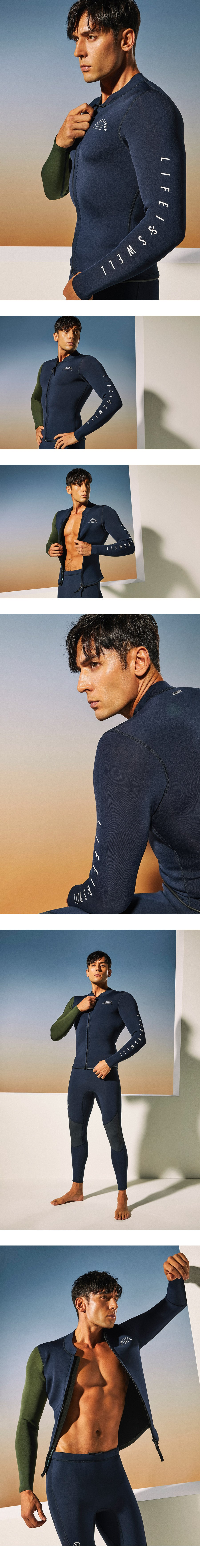 Barrel Mens 2mm Neoprene One Arm Jacket-D.NAVY/IVY_image