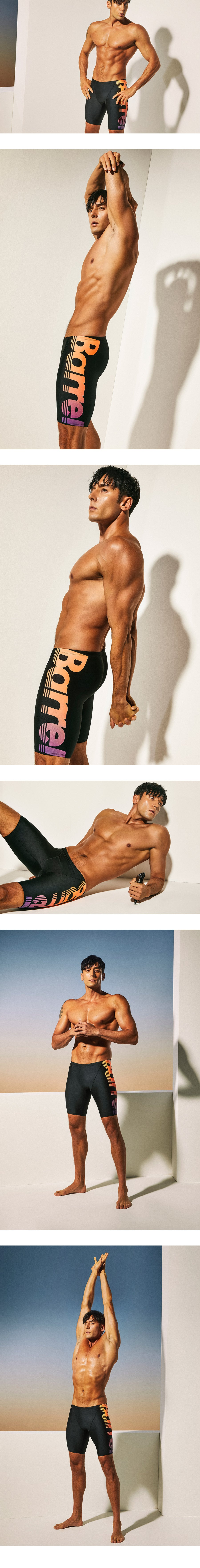 Barrel Mens Racing Fit Big Logo Jammer Swimsuit-BLACK/PEACH/PURPLE_image