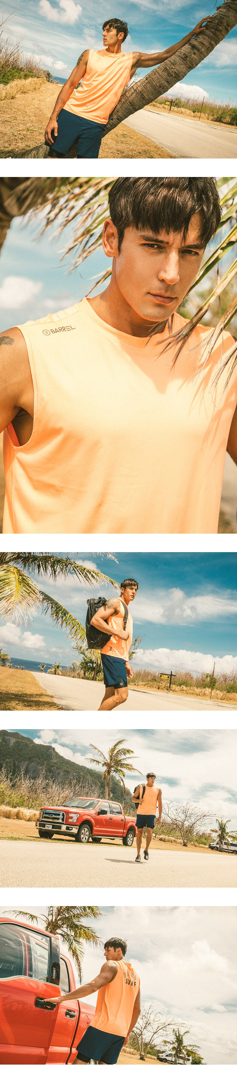 Barrel Mens Surf Sleeveless Rashguard-PEACH