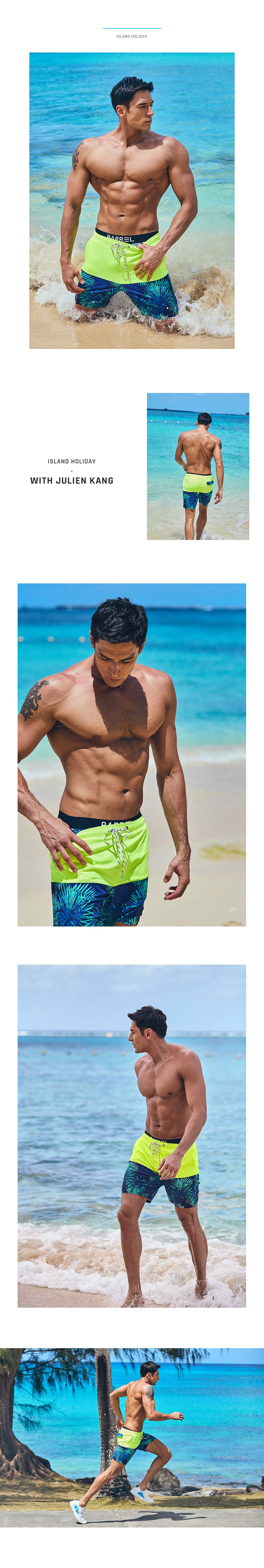 Barrel Mens Beach Pattern Boardshorts-NEON YELLOW/GREEN SPARKLE_image