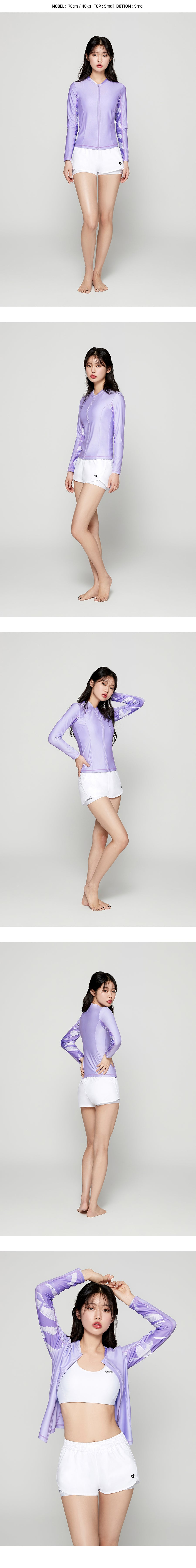 Barrel Womens Tina Zip Up Rashguard-PALE PURPLE
