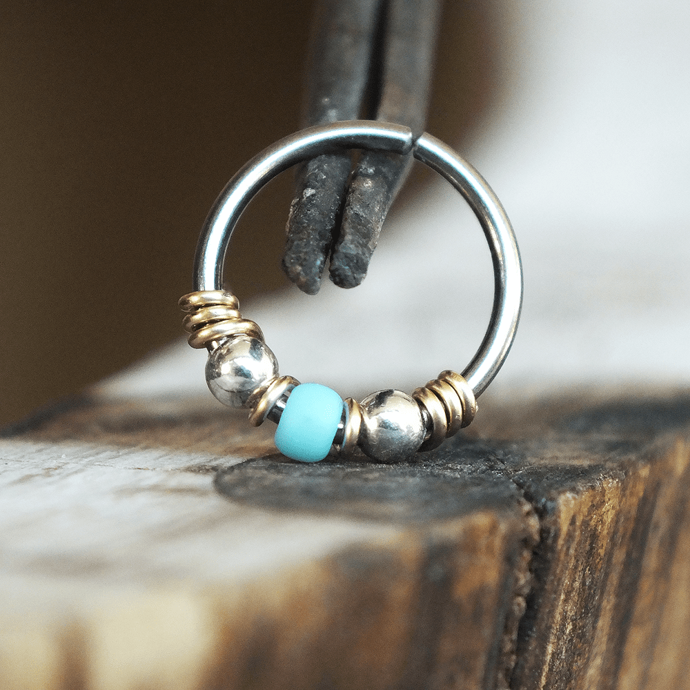 Metal Lotus Beaded Hoop Arizona - Turquoise & Silver Nose Ring Hoop