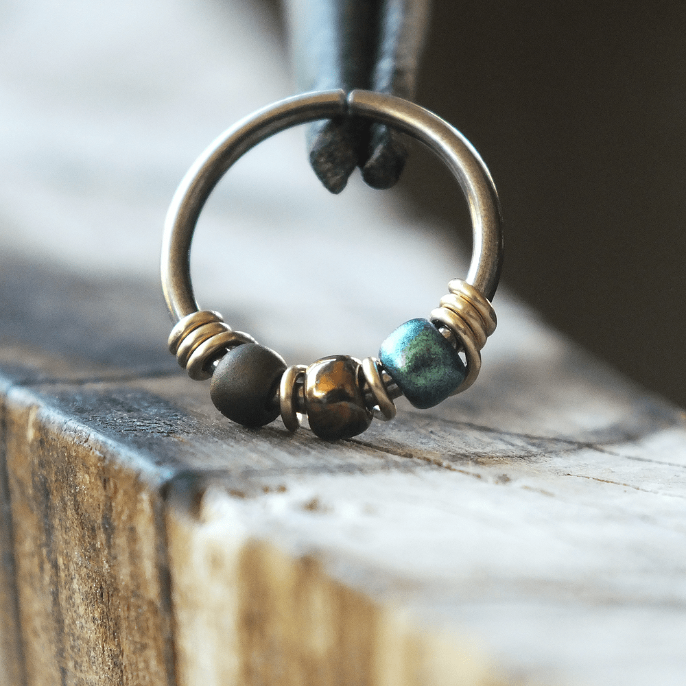 Metal Lotus Beaded Hoop Dragonfly - Metallic Green & Teal Nose Ring Hoop