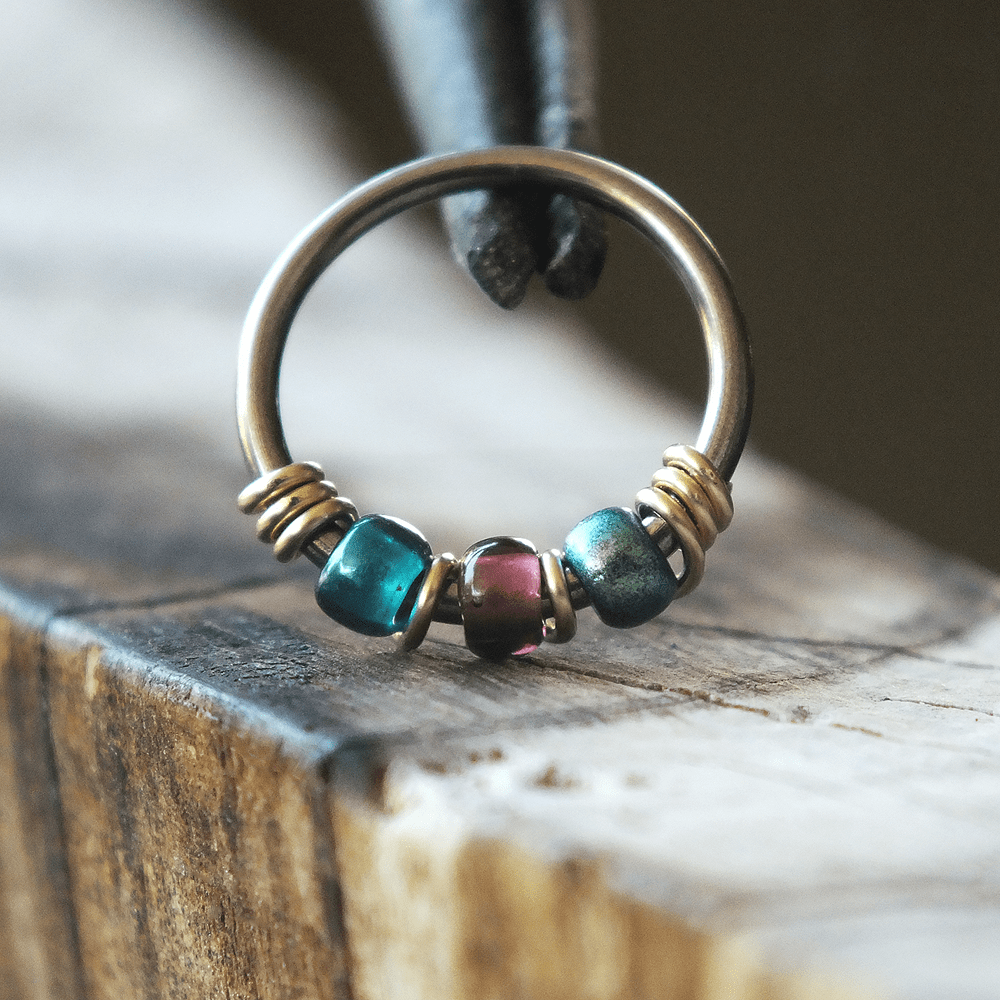 Metal Lotus Beaded Hoop Peacock - Purple & Teal Nose Piercing Ring