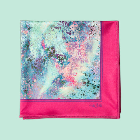 Design pocket square, spray pattern, multicolor, pastel, mint, magenta