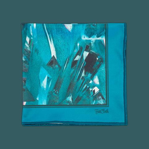 Design pocket square, ice pattern, glacier, blue, aqua, petrol, teal
