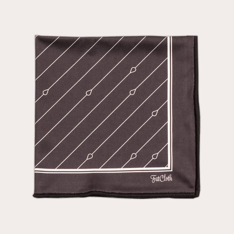 Design pocket square, pin stripe pattern, dark grey, black & white, graphite