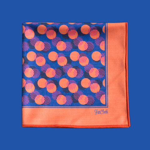 Design pocket square, dot pattern, blue, coral red, black