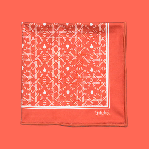 Design pocket square, arabic pattern, orange, white