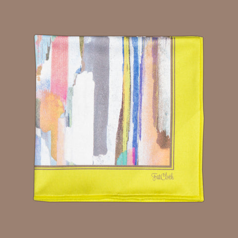 Design pocket square, brush stroke pattern, watercolor, artistic, multicolor, yellow