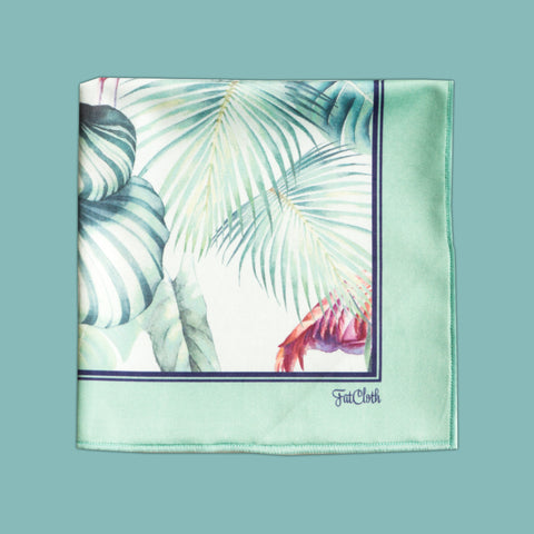 Design pocket square, nature book pattern, green, leaves, flamingos