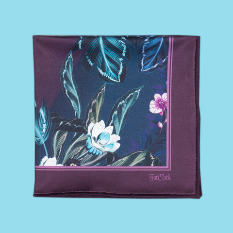 Design pocket square, floral pattern, leaves, flovers, lilac, purple, green, dark blue