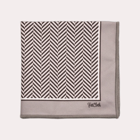 Design pocket square, fishbone pattern, tweed, black & white, stripes