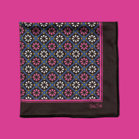 Design pocket square, classic pattern, circles, balls, dark grey, black, blue, magenta