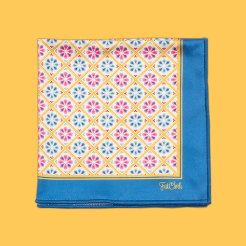 Design pocket square, classic pattern, circles, balls, white, yellow, blue, magenta