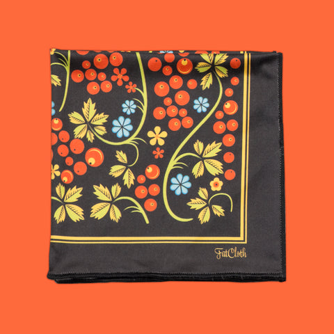 Design pocket square, russian pattern, khokloma, rowan berry, black, orange, yellow
