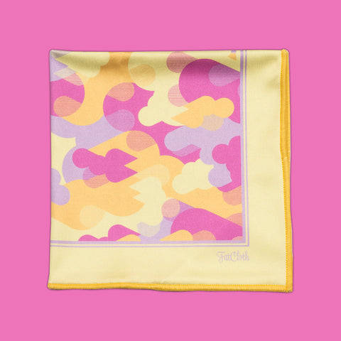 Design pocket square, camo pattern, drop, urban, yellow, purple, lilac