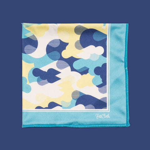 Design pocket square, camo pattern, drop, urban, blue, yellow, white