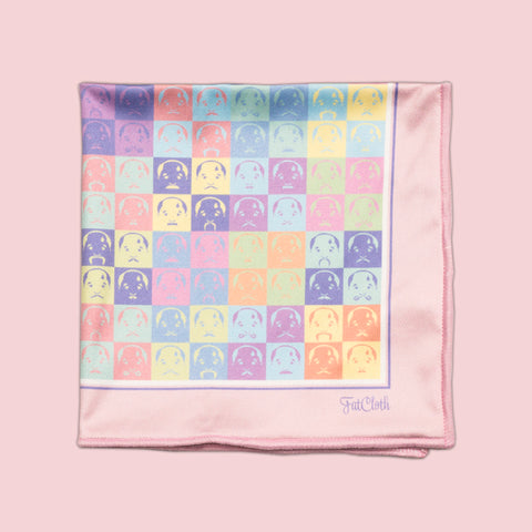 Design pocket square, moustache pattern, face, pastel, multicolor, grid