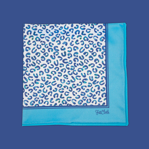 Design pocket square, snow hoof pattern, blue, white, pale yellow, cream