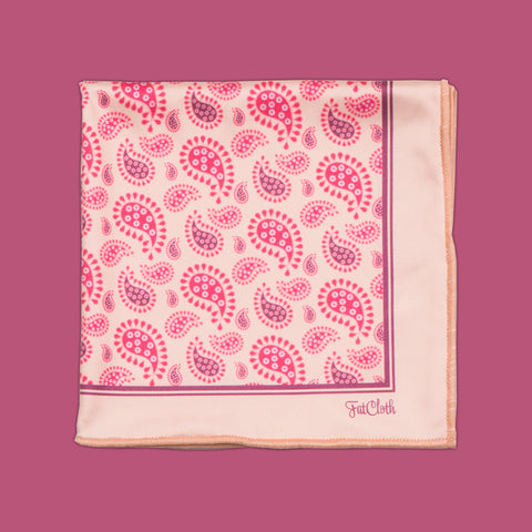 Design pocket square, paisley pattern, classic, english, oriental, british, pink, rose, peach, skintone, powder