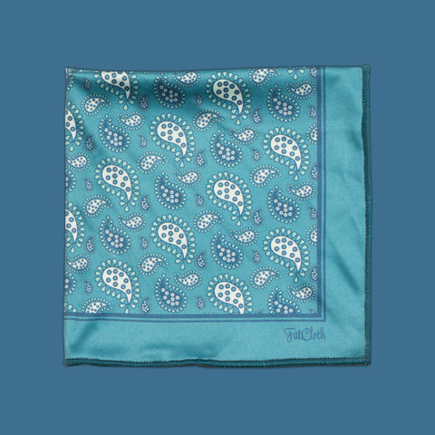 Design pocket square, paisley pattern, classic, english, oriental, british, petrol, aqua, teal