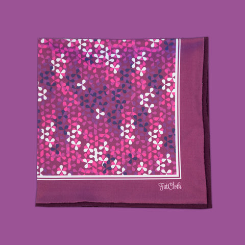 Design pocket square, abstract floral pattern, pink, purple, magenta, white
