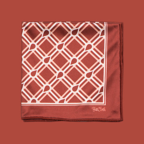 Design pocket square, crosshatch pattern, hashtag, fence, grid, maroon, burgundy, white