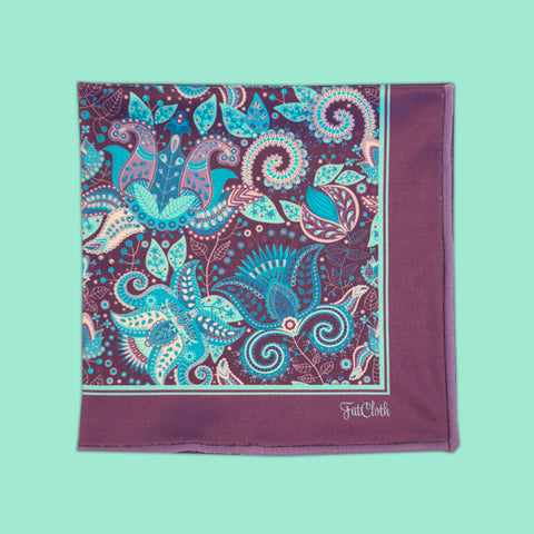 Design pocket square, wallpaper pattern, paisley, turquoise, blue, electric blue, teal, aqua, purple, lilac, plum
