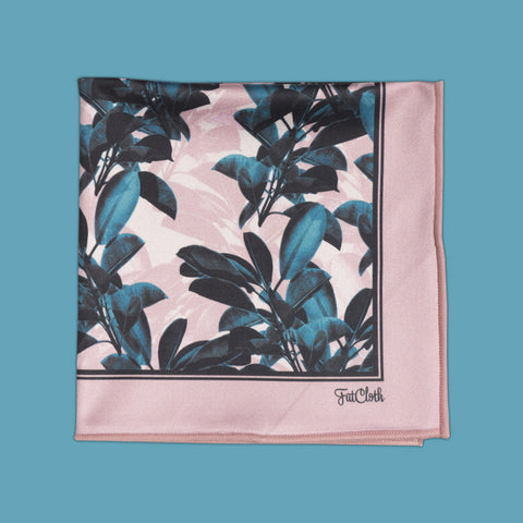 Design pocket square, leaf pattern, plants, botanical, pink, rose, green, petrol, teal