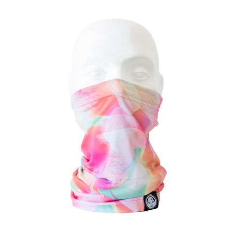 FatCloth Miles Turtle multicolor pastel pink tube scarf face mask front.