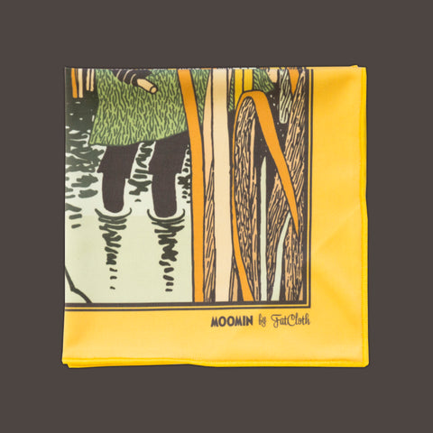 Design pocket square, Moomin pattern, orange, yellow, Snufkin, fishing, reeds, Tove Jansson